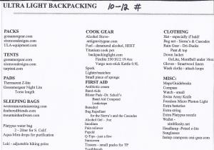 Ultra light hiking--backpacks
