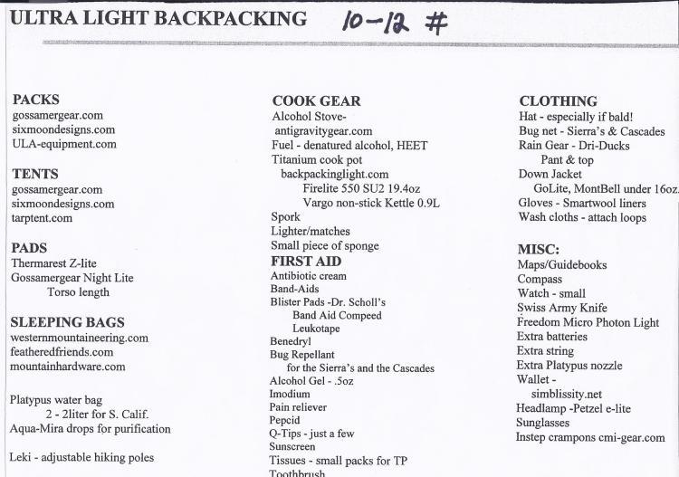 Ultra light hiking--backpacks