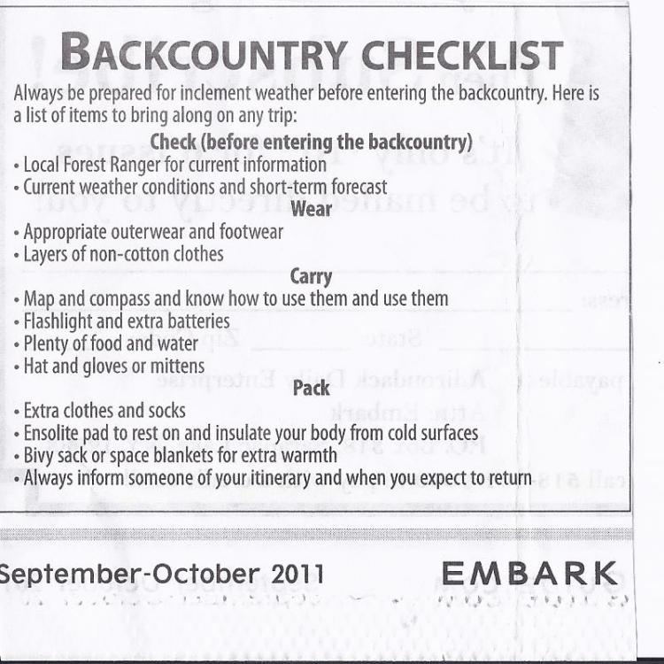 wilderness checklist for hikers, backpackers, campers